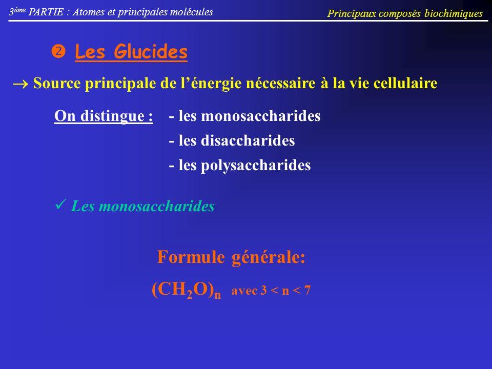 3 ème PARTIE : Atomes et principales molécules Principaux composés biochimiques Les Glucides Source principale de lénergie nécessaire à la vie cellulaire On distingue :- les monosaccharides - les disaccharides - les polysaccharides Les monosaccharides Formule générale: (CH 2 O) n avec 3 < n < 7