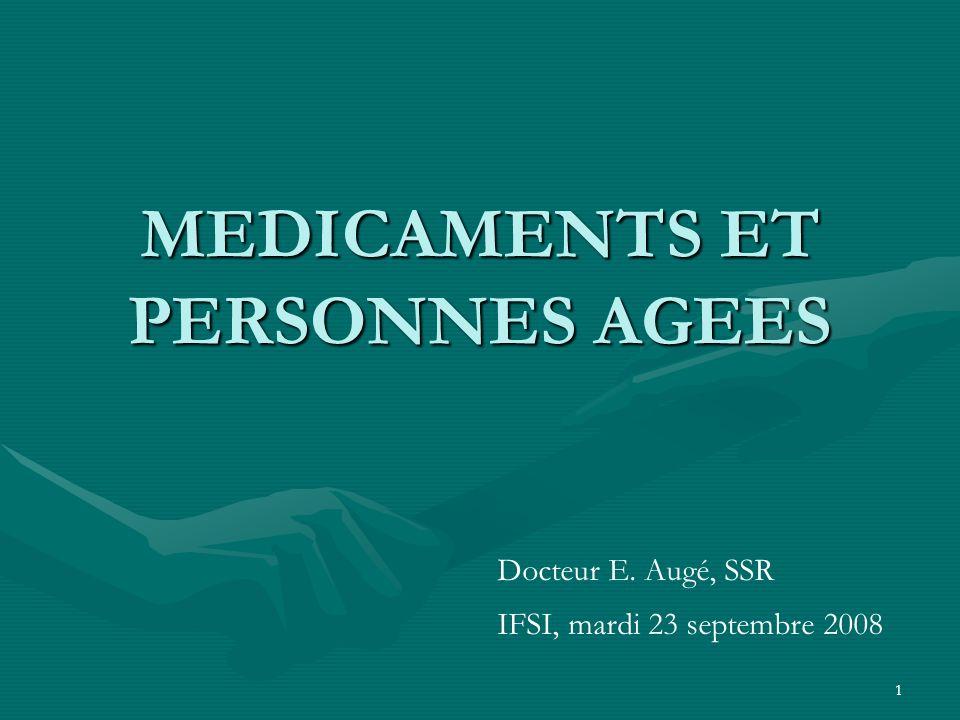 1 MEDICAMENTS ET PERSONNES AGEES Docteur E. Augé, SSR IFSI, mardi 23 septembre 2008