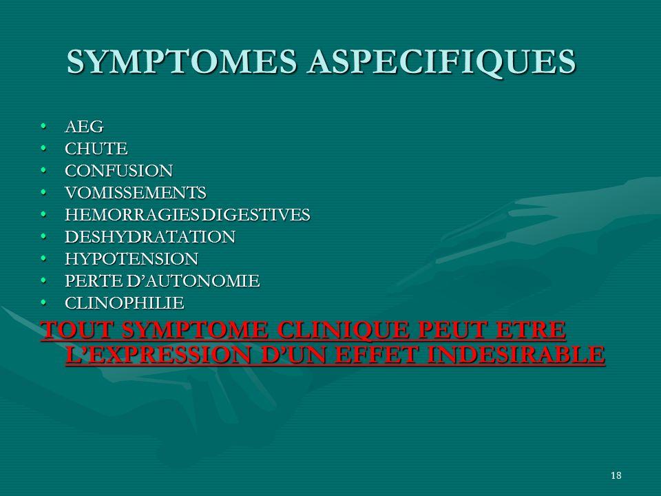 18 SYMPTOMES ASPECIFIQUES AEGAEG CHUTECHUTE CONFUSIONCONFUSION VOMISSEMENTSVOMISSEMENTS HEMORRAGIES DIGESTIVESHEMORRAGIES DIGESTIVES DESHYDRATATIONDES