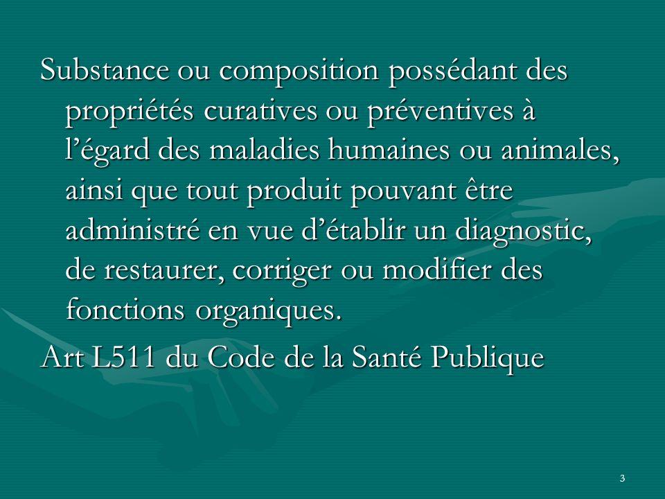 3 Substance ou composition possédant des propriétés curatives ou préventives à légard des maladies humaines ou animales, ainsi que tout produit pouvan