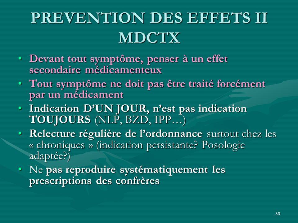 30 PREVENTION DES EFFETS II MDCTX Devant tout symptôme, penser à un effet secondaire médicamenteuxDevant tout symptôme, penser à un effet secondaire m