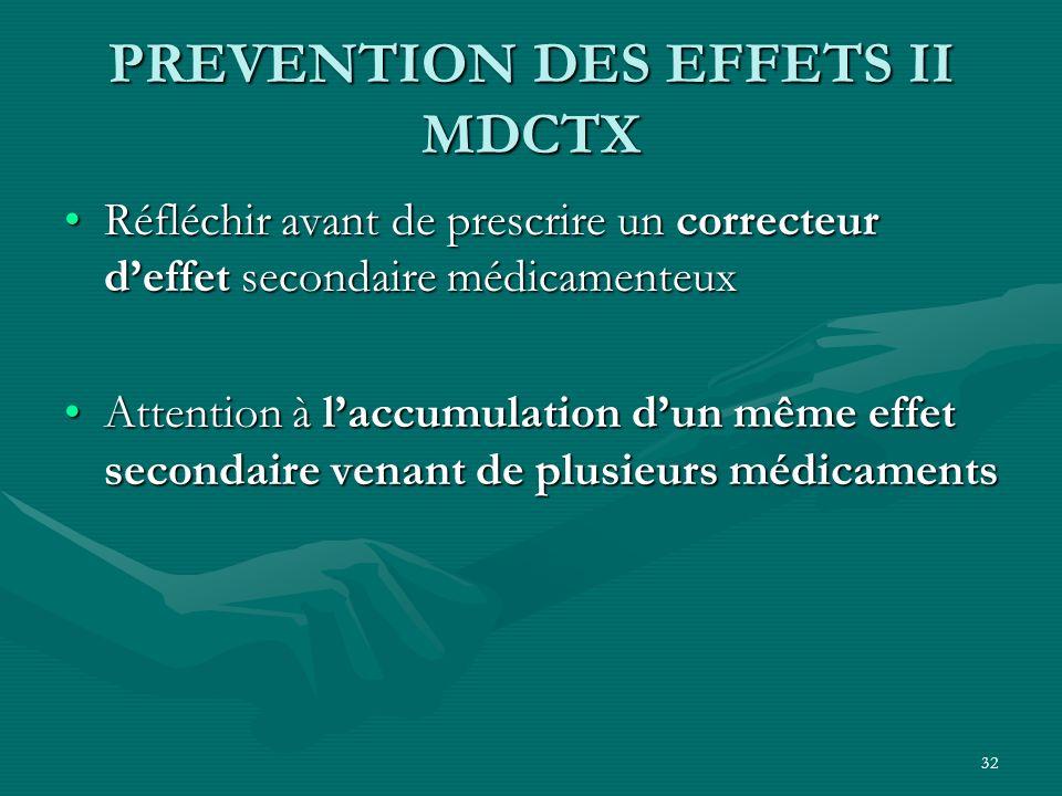 32 PREVENTION DES EFFETS II MDCTX Réfléchir avant de prescrire un correcteur deffet secondaire médicamenteuxRéfléchir avant de prescrire un correcteur