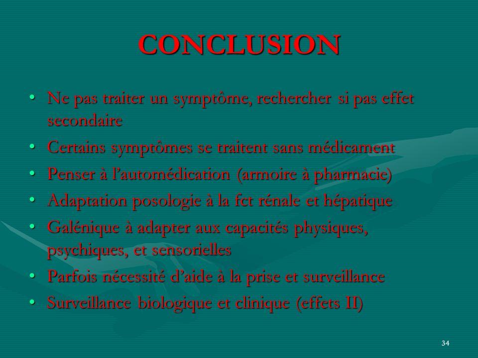 34 CONCLUSION Ne pas traiter un symptôme, rechercher si pas effet secondaireNe pas traiter un symptôme, rechercher si pas effet secondaire Certains sy