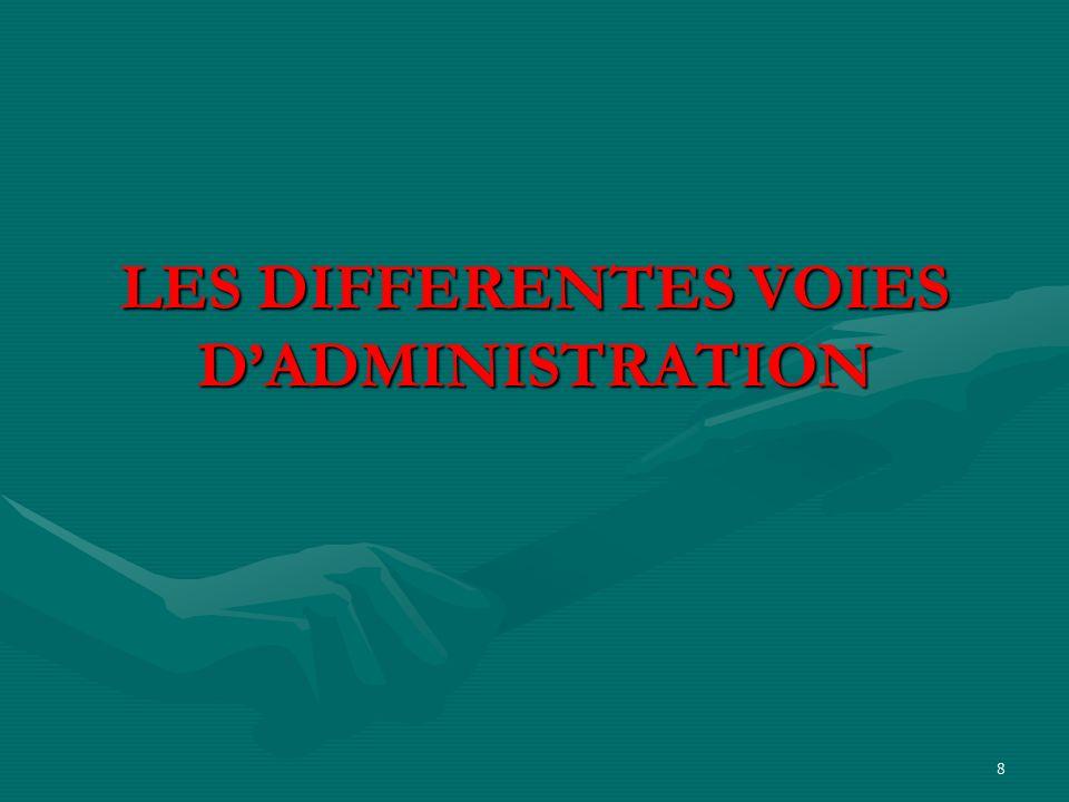 8 LES DIFFERENTES VOIES DADMINISTRATION