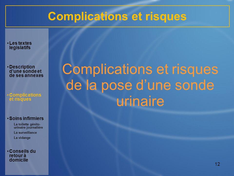 12 Complications et risques de la pose dune sonde urinaire Les textes legislatifs Description dune sonde et de ses annexes Complications et risques So