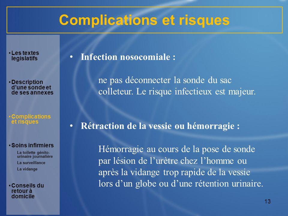 13 Complications et risques Infection nosocomiale : ne pas déconnecter la sonde du sac colleteur. Le risque infectieux est majeur. Rétraction de la ve