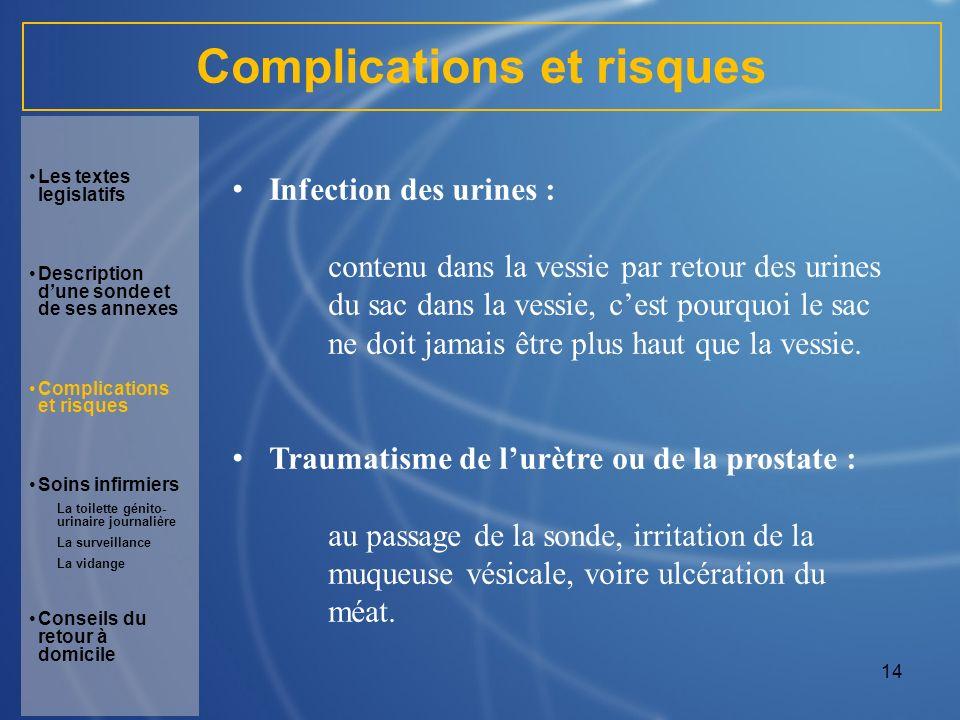 14 Complications et risques Infection des urines : contenu dans la vessie par retour des urines du sac dans la vessie, cest pourquoi le sac ne doit ja