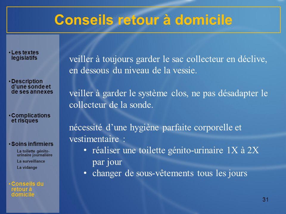 31 Conseils retour à domicile veiller à toujours garder le sac collecteur en déclive, en dessous du niveau de la vessie. veiller à garder le système c