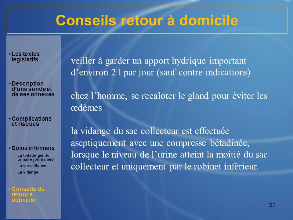 32 Conseils retour à domicile veiller à garder un apport hydrique important denviron 2 l par jour (sauf contre indications) chez lhomme, se recaloter