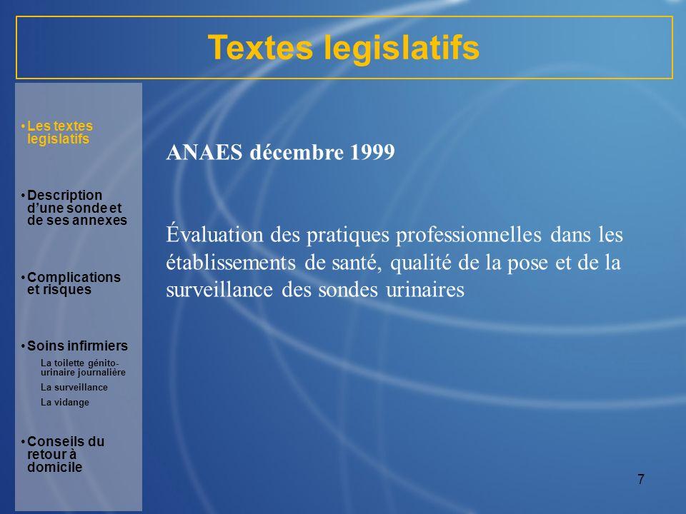 7 Textes legislatifs ANAES décembre 1999 Évaluation des pratiques professionnelles dans les établissements de santé, qualité de la pose et de la surve