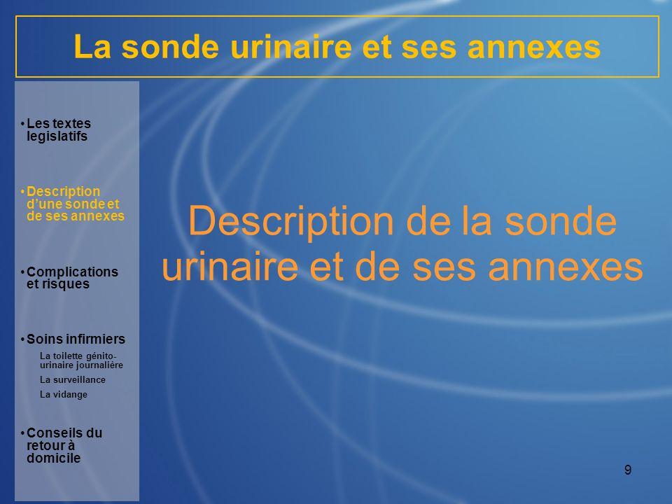 10 La sonde urinaire et ses annexes Sonde urinaire : sonde lubrifiée avec un ballonnet : en latex pour une courte durée en silicone pour une longue durée.