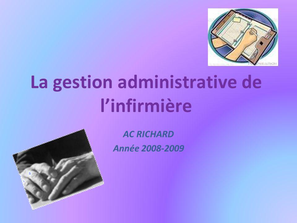 La gestion administrative de linfirmière AC RICHARD Année 2008-2009