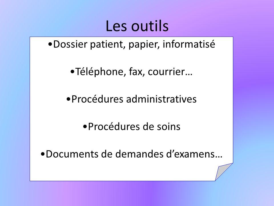 Les outils Dossier patient, papier, informatisé Téléphone, fax, courrier… Procédures administratives Procédures de soins Documents de demandes dexamens…
