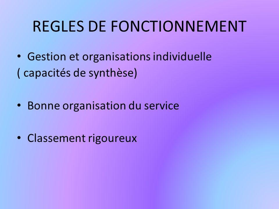 REGLES DE FONCTIONNEMENT Gestion et organisations individuelle ( capacités de synthèse) Bonne organisation du service Classement rigoureux