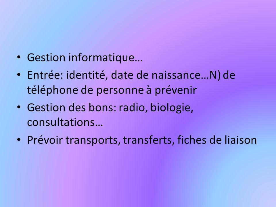 Gestion informatique… Entrée: identité, date de naissance…N) de téléphone de personne à prévenir Gestion des bons: radio, biologie, consultations… Prévoir transports, transferts, fiches de liaison