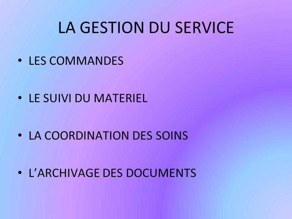 LA GESTION DU SERVICE LES COMMANDES LE SUIVI DU MATERIEL LA COORDINATION DES SOINS LARCHIVAGE DES DOCUMENTS