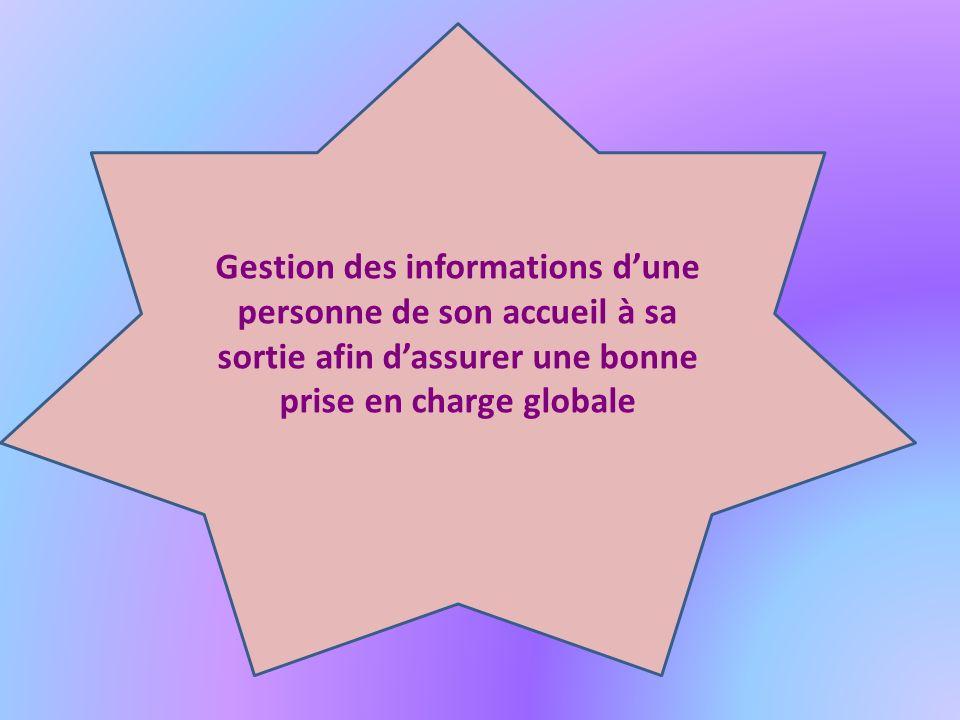 Gestion des informations dune personne de son accueil à sa sortie afin dassurer une bonne prise en charge globale