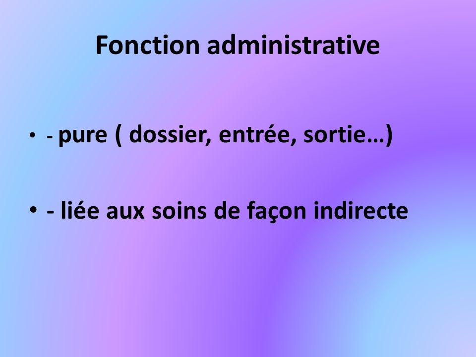 Fonction administrative - pure ( dossier, entrée, sortie…) - liée aux soins de façon indirecte