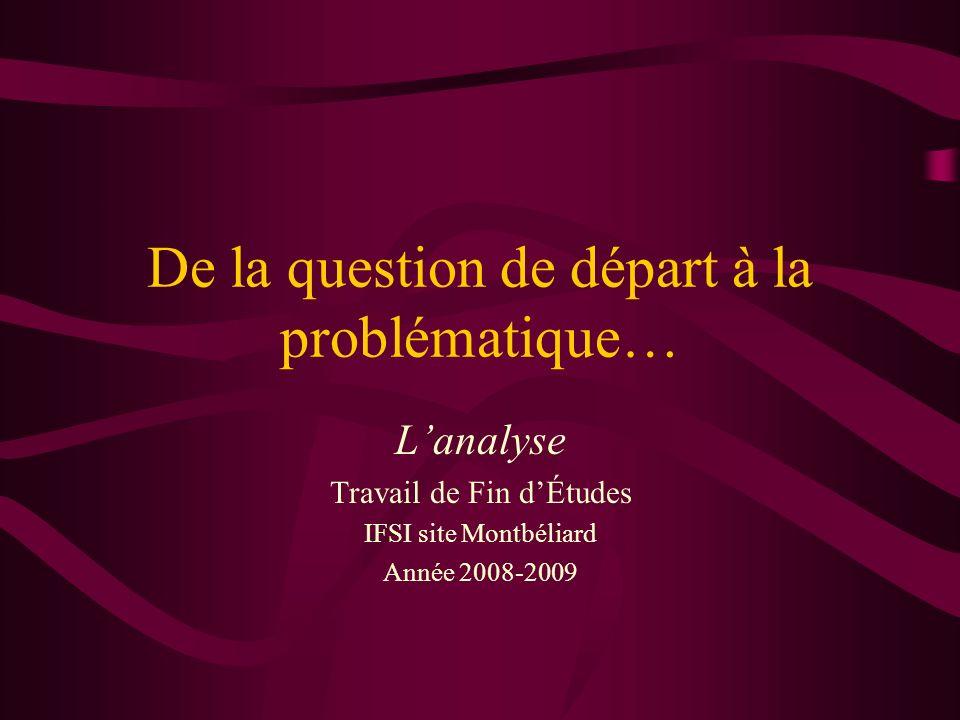 De la question de départ à la problématique… Lanalyse Travail de Fin dÉtudes IFSI site Montbéliard Année 2008-2009