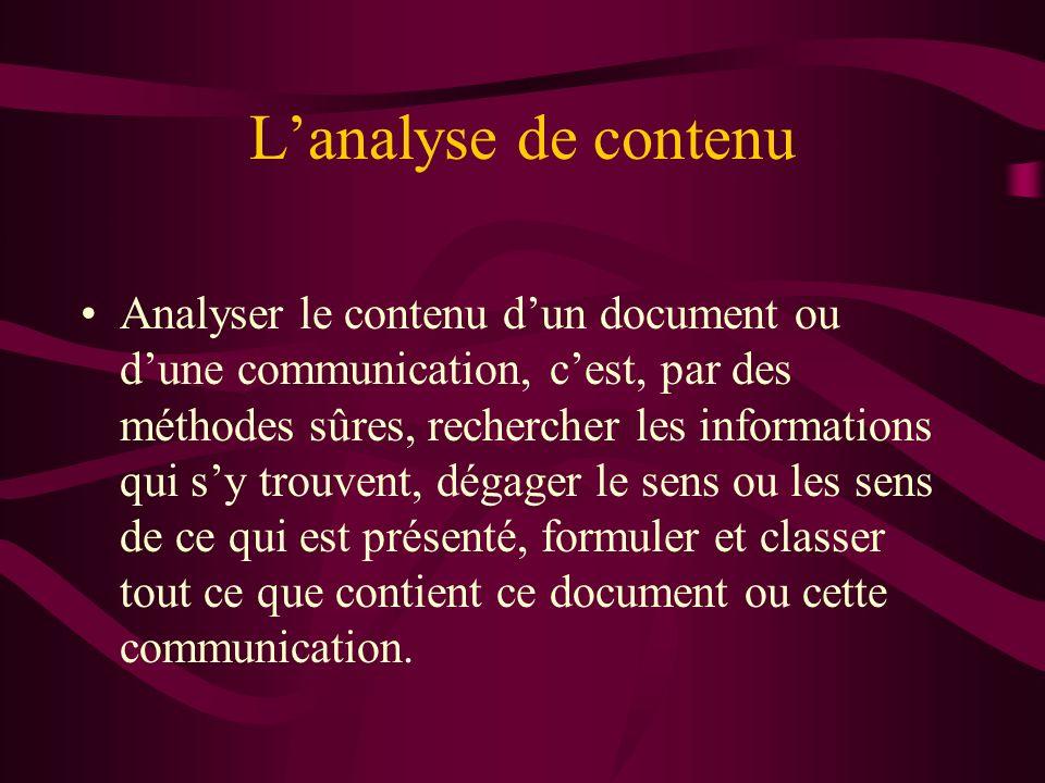 Lanalyse de contenu Analyser le contenu dun document ou dune communication, cest, par des méthodes sûres, rechercher les informations qui sy trouvent,