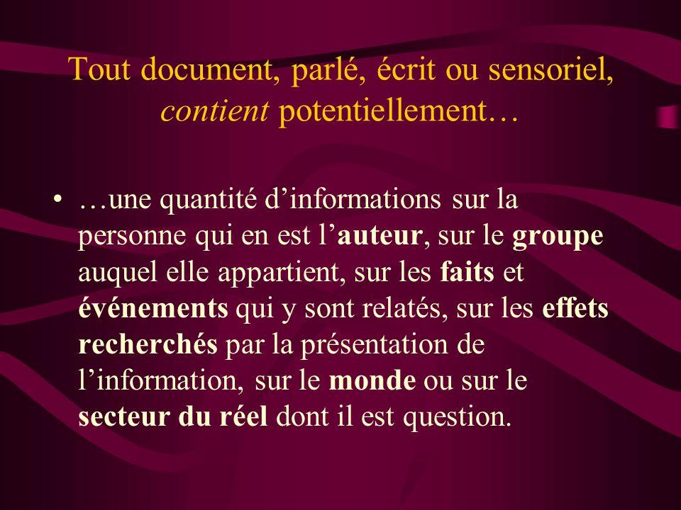 Tout document, parlé, écrit ou sensoriel, contient potentiellement… …une quantité dinformations sur la personne qui en est lauteur, sur le groupe auqu