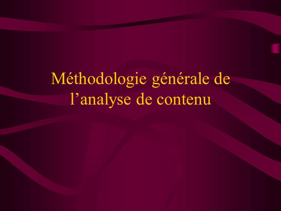 Méthodologie générale de lanalyse de contenu