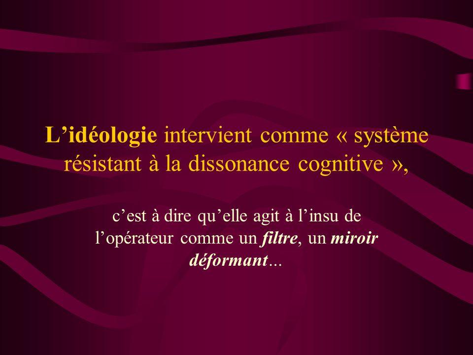 Lidéologie intervient comme « système résistant à la dissonance cognitive », cest à dire quelle agit à linsu de lopérateur comme un filtre, un miroir