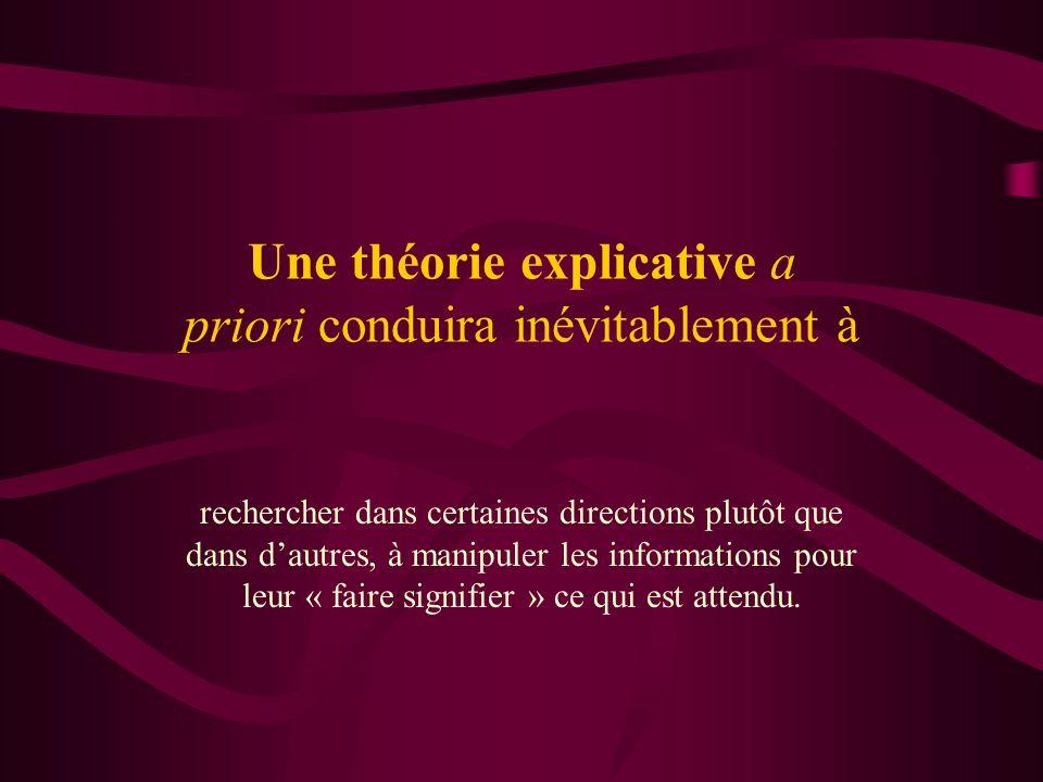 Une théorie explicative a priori conduira inévitablement à rechercher dans certaines directions plutôt que dans dautres, à manipuler les informations