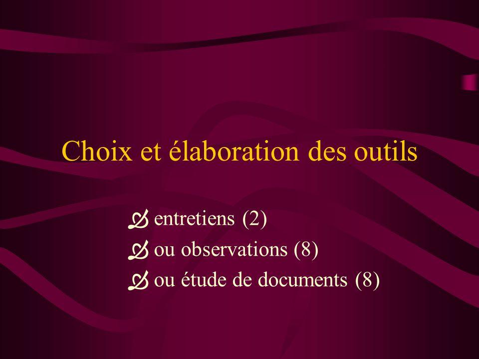 Choix et élaboration des outils entretiens (2) ou observations (8) ou étude de documents (8)