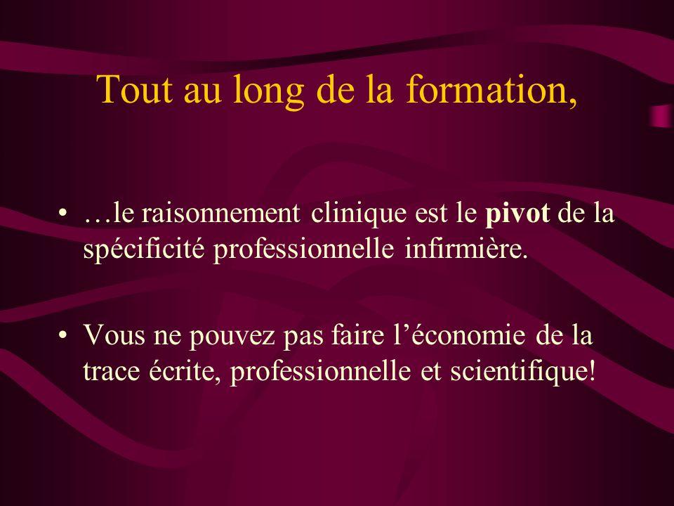 Tout au long de la formation, …le raisonnement clinique est le pivot de la spécificité professionnelle infirmière. Vous ne pouvez pas faire léconomie