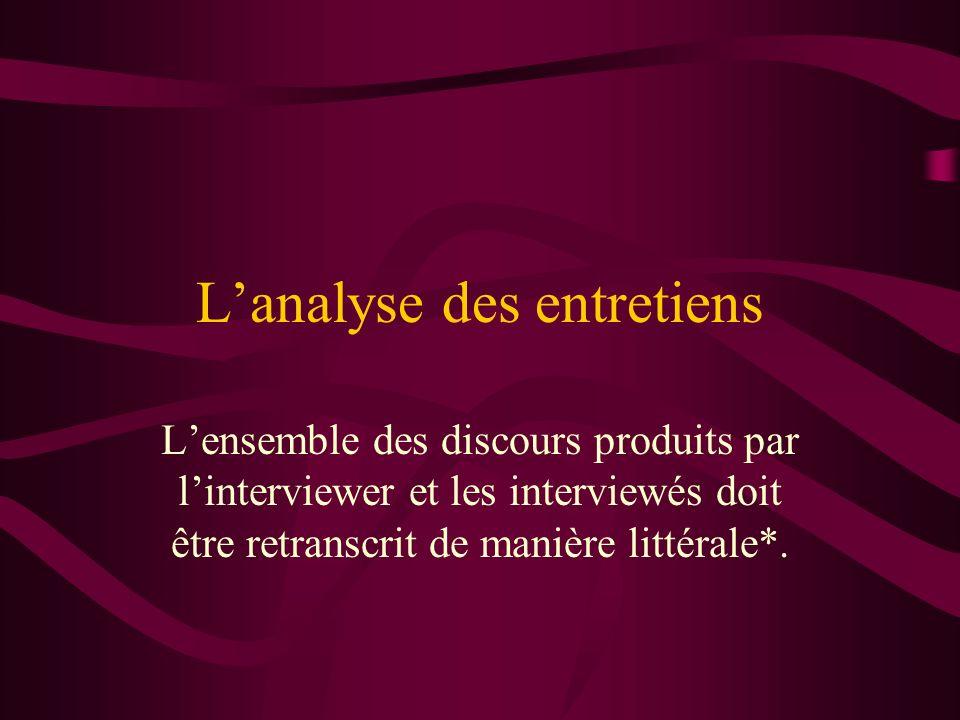 Lanalyse des entretiens Lensemble des discours produits par linterviewer et les interviewés doit être retranscrit de manière littérale*.