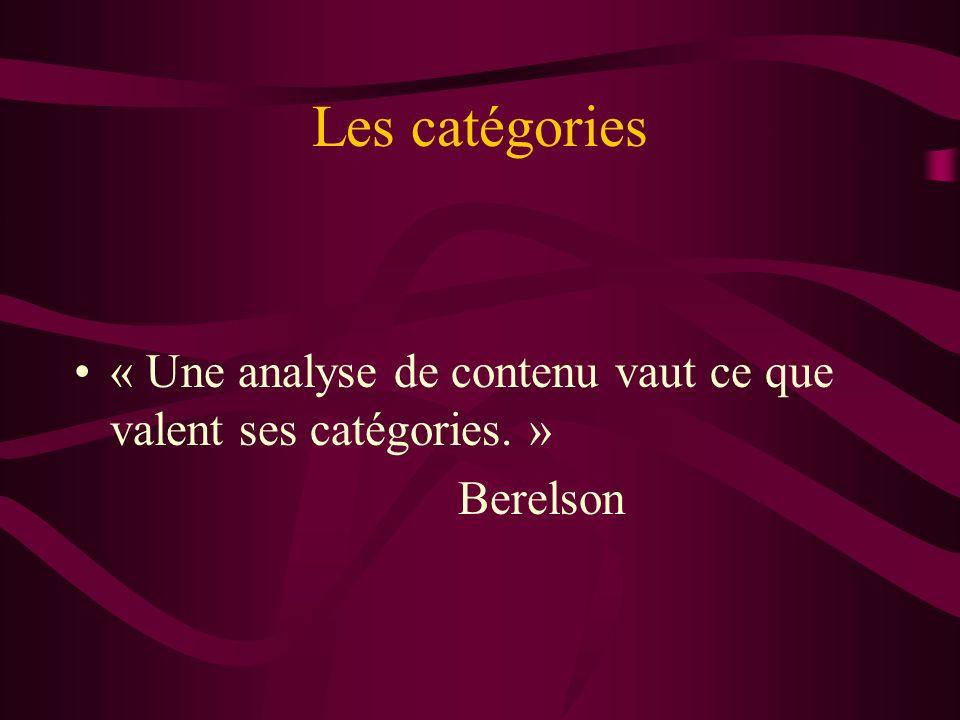 Les catégories « Une analyse de contenu vaut ce que valent ses catégories. » Berelson