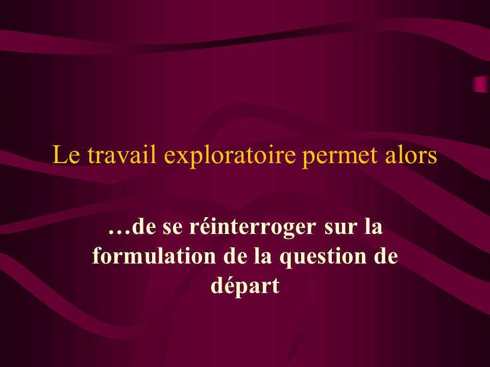 Le travail exploratoire permet alors …de se réinterroger sur la formulation de la question de départ