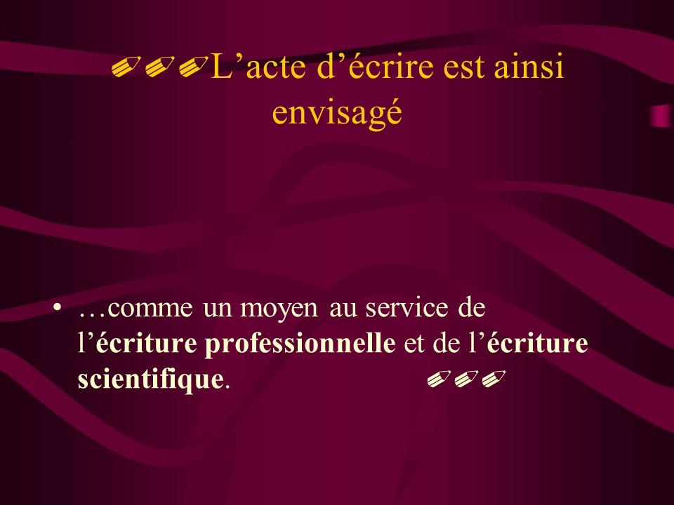 Lacte décrire est ainsi envisagé …comme un moyen au service de lécriture professionnelle et de lécriture scientifique.