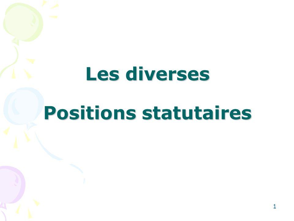 1 Les diverses Positions statutaires