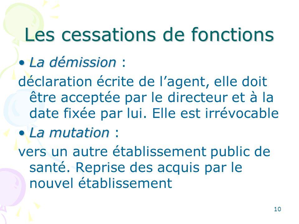 10 Les cessations de fonctions La démissionLa démission : déclaration écrite de lagent, elle doit être acceptée par le directeur et à la date fixée par lui.
