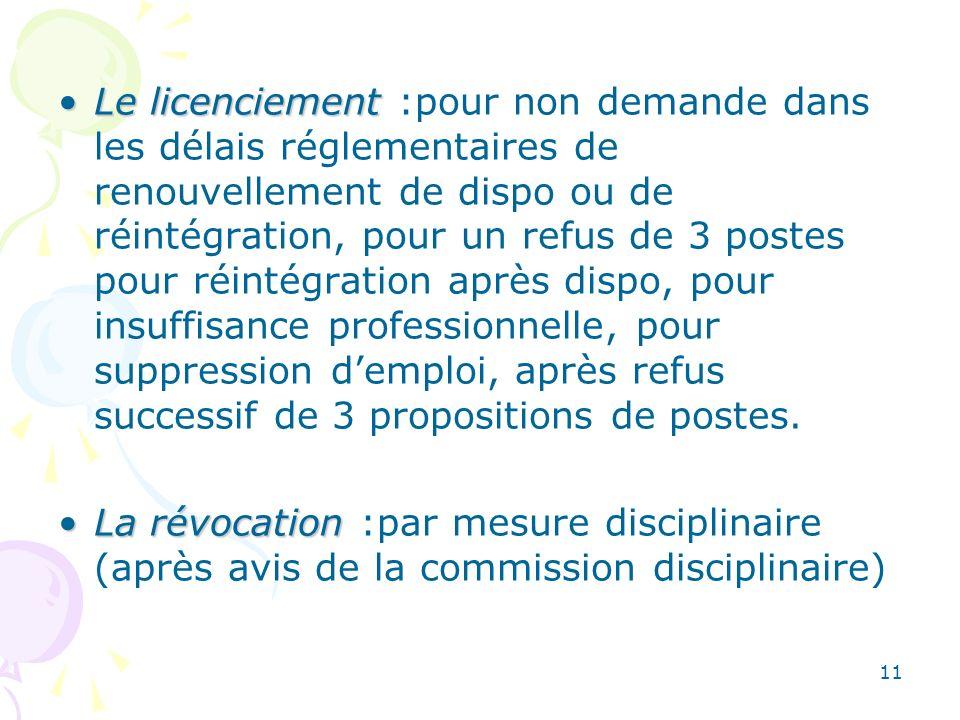 11 Le licenciementLe licenciement :pour non demande dans les délais réglementaires de renouvellement de dispo ou de réintégration, pour un refus de 3