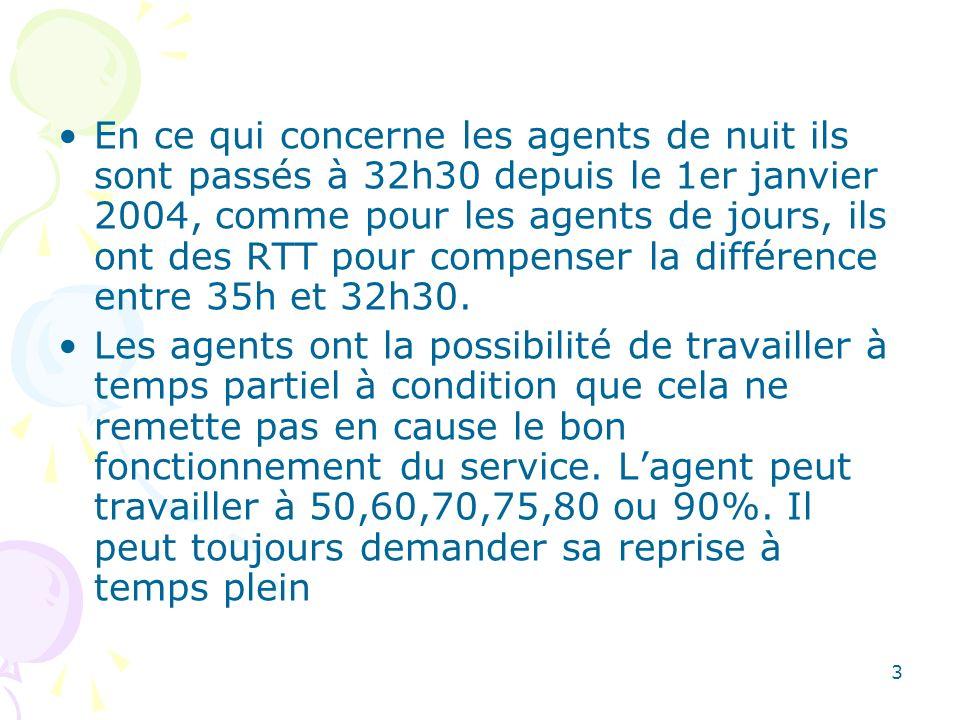 3 En ce qui concerne les agents de nuit ils sont passés à 32h30 depuis le 1er janvier 2004, comme pour les agents de jours, ils ont des RTT pour compe