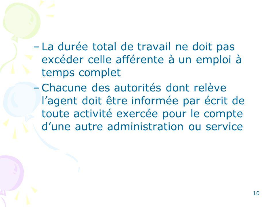 10 –La durée total de travail ne doit pas excéder celle afférente à un emploi à temps complet –Chacune des autorités dont relève lagent doit être info