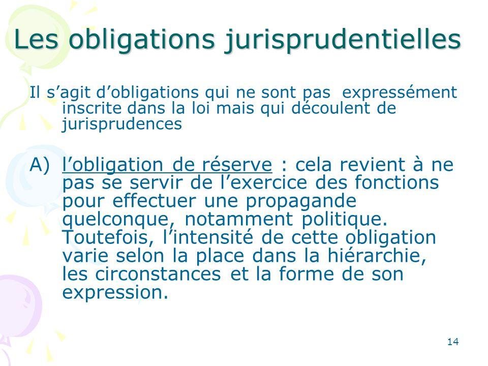 14 Les obligations jurisprudentielles Il sagit dobligations qui ne sont pas expressément inscrite dans la loi mais qui découlent de jurisprudences A)l