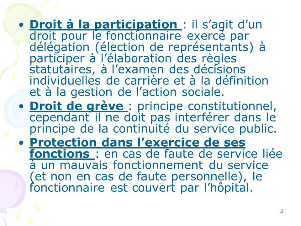 3 Droit à la participation : il sagit dun droit pour le fonctionnaire exercé par délégation (élection de représentants) à participer à lélaboration de