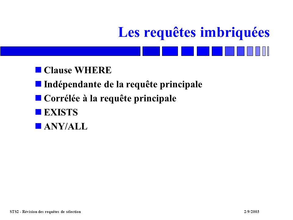 STS2 - Révision des requêtes de sélection2/9/2003 Les requêtes imbriquées nClause WHERE nIndépendante de la requête principale nCorrélée à la requête principale nEXISTS nANY/ALL