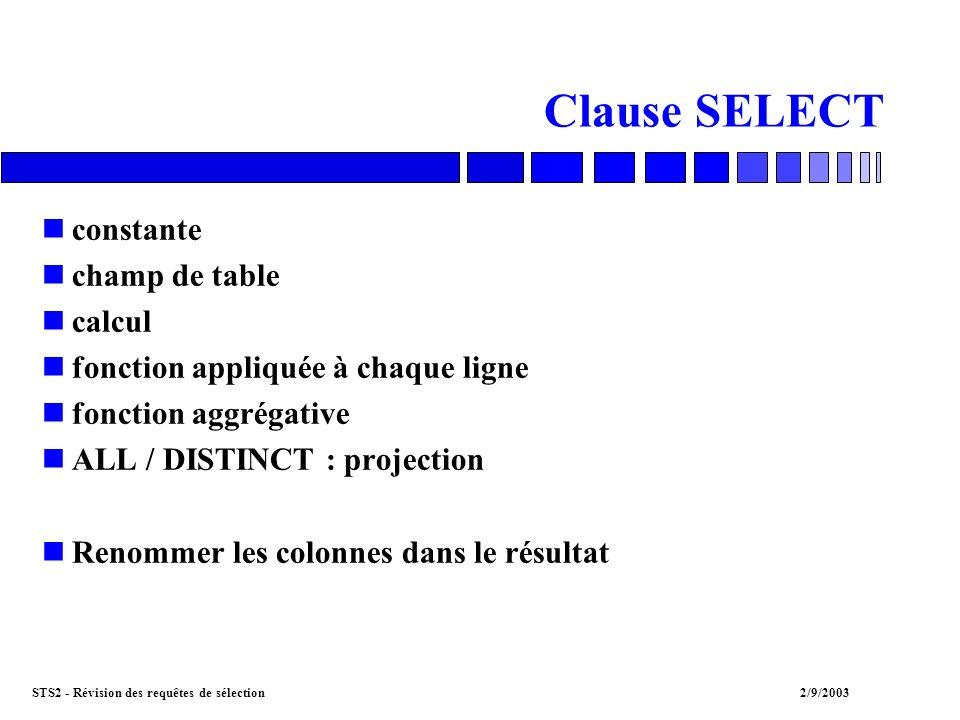 STS2 - Révision des requêtes de sélection2/9/2003 Clause SELECT nconstante nchamp de table ncalcul nfonction appliquée à chaque ligne nfonction aggrégative nALL / DISTINCT : projection nRenommer les colonnes dans le résultat