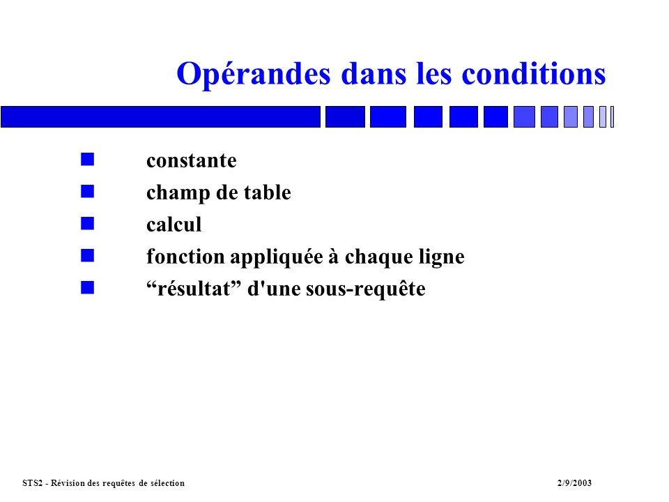 STS2 - Révision des requêtes de sélection2/9/2003 Opérateurs dans les conditions nopérateurs comparatifs : =, !=,, >= nIS NULL / IS NOT NULL nLIKE nIN / NOT IN nBETWEEN nEXISTS nANY / ALL