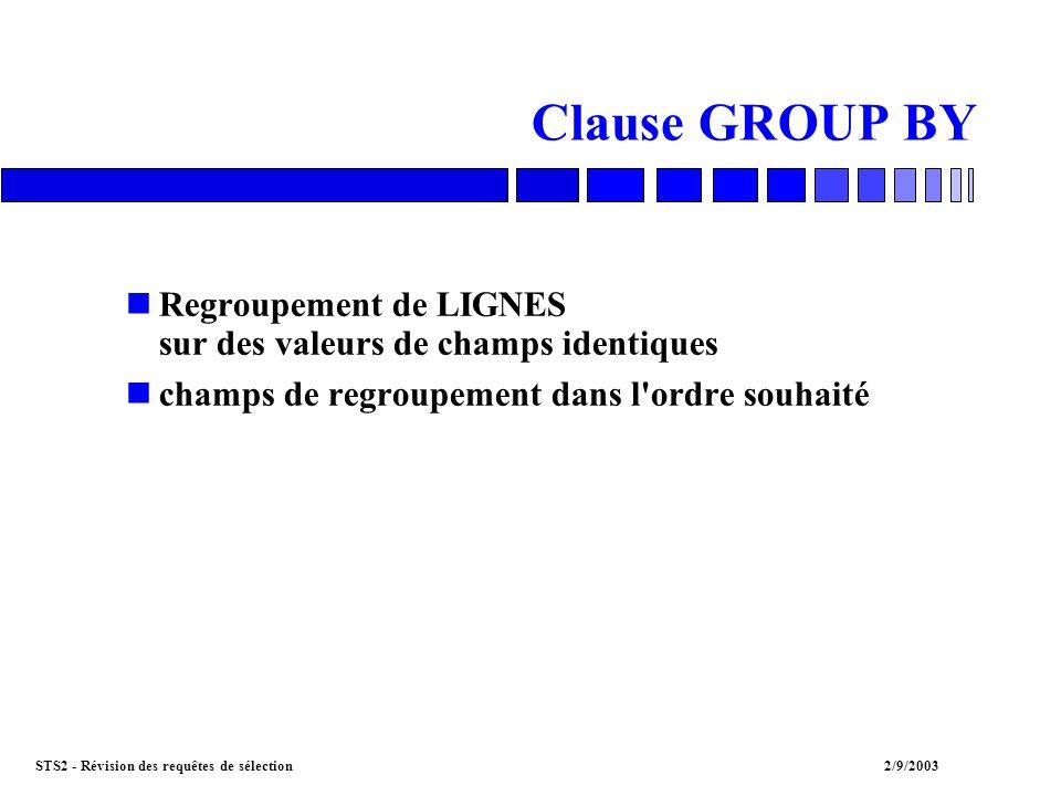 STS2 - Révision des requêtes de sélection2/9/2003 Clause GROUP BY nRegroupement de LIGNES sur des valeurs de champs identiques nchamps de regroupement dans l ordre souhaité