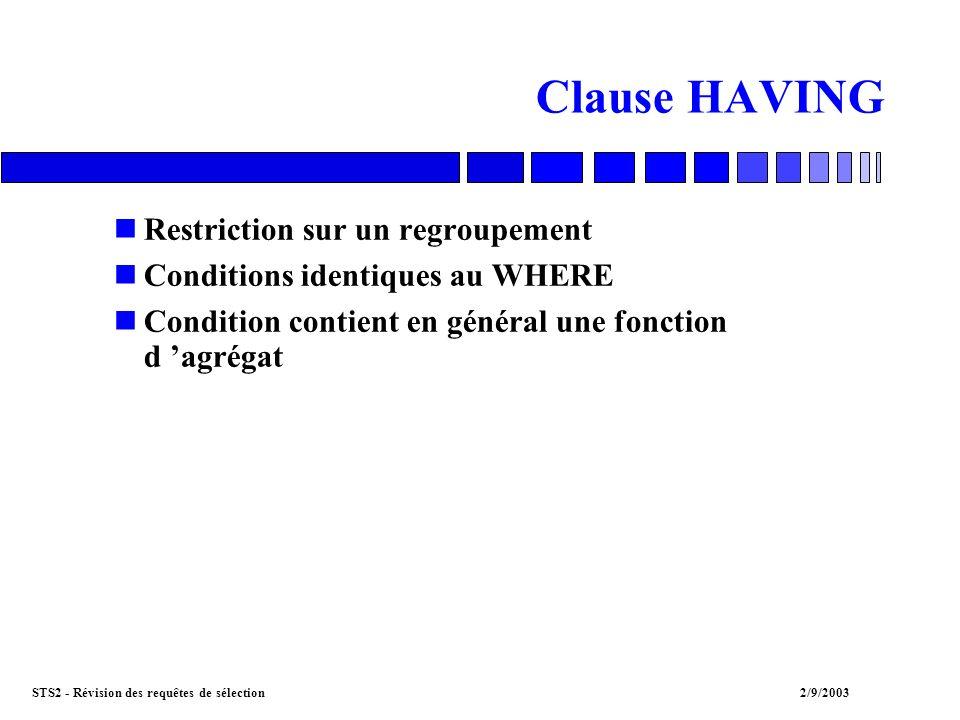 STS2 - Révision des requêtes de sélection2/9/2003 Clause HAVING nRestriction sur un regroupement nConditions identiques au WHERE nCondition contient en général une fonction d agrégat