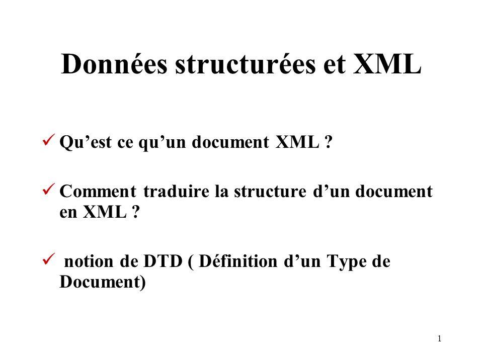 1 Données structurées et XML Quest ce quun document XML ? Comment traduire la structure dun document en XML ? notion de DTD ( Définition dun Type de D