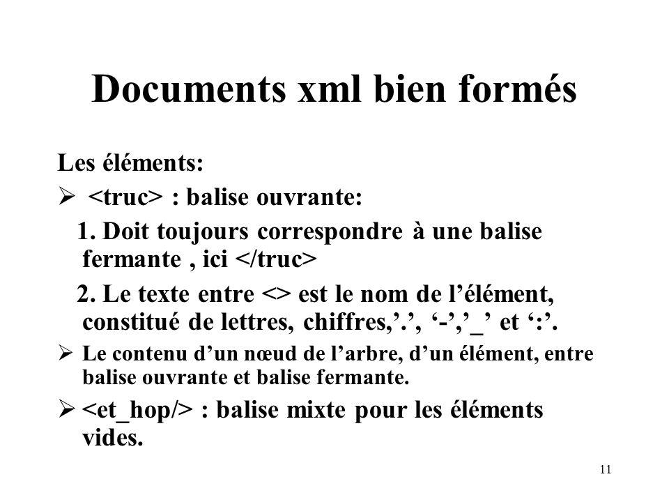 11 Documents xml bien formés Les éléments: : balise ouvrante: 1. Doit toujours correspondre à une balise fermante, ici 2. Le texte entre <> est le nom