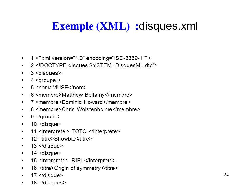 24 Exemple (XML) : disques.xml 1 2 3 4 5 MUSE 6 Matthew Bellamy 7 Dominic Howard 8 Chris Wolstenholme 9 10 11 TOTO 12 Showbiz 13 14 15 RIRI 16 Origin