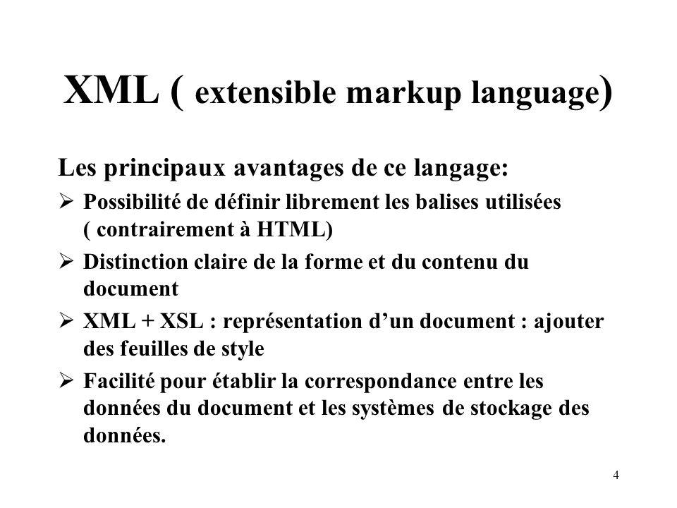 4 XML ( extensible markup language ) Les principaux avantages de ce langage: Possibilité de définir librement les balises utilisées ( contrairement à